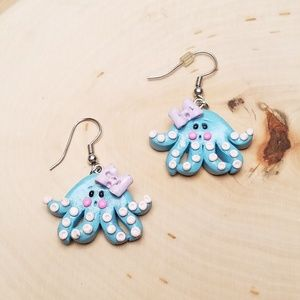 Adorable Handmade Blue Octopus Clay Earrings